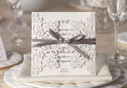 Wholesale Bow Cut Out - Cheap Chic White Hollow Flower Cut-out With Bow Free Personalized Wedding Invitations Cards Free Shipping Wedding Accessories