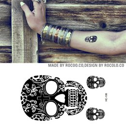 Wholesale Tattoos Designs Sexy Eyes - Wholesale- HC1106 Men And Women Sexy Arm Shoulder Chest Tattoo Art Skull Design Fake Tattoo Stickers Waterproof Temporary Tattoo Stickers