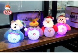 Wholesale Luminous Led Trees - LED Snowman Deer Bear Christmas Decoration flash luminous lighted Santa Claus ornaments for Christmas tree and Christmas decoration gifts
