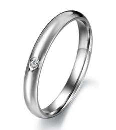 Wholesale Stainless Steel Rings 3mm - beautiful Womens 3mm Titanium Stainless Steel Cubic,Zirconia CZ Inlay Domed Silver Ring Wedding Engagement Band