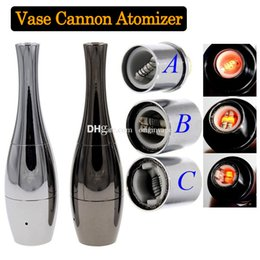 Wholesale Vaporizer Bowls - Cannon Bowling Wax Atomizer Vase Shape Wax and Dry Herb Vaporizer Tank Atomizer 510 Thread SS Black Free Shipping