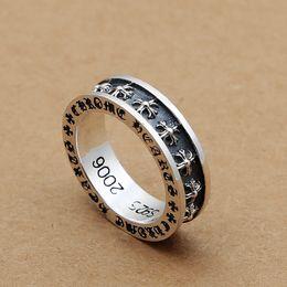 Plata de ley antigua online-A estrenar 925 joyas finas de plata de la vendimia americana europea antigua de plata cruces hechas a mano anillos de regalo de banda para hombres mujeres