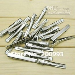 "Wholesale Alligator Prongs - 57mm 2.5"" Silver tone hair clips Single Prong alligator clip teeth clips handwork DIY craft hair acc"