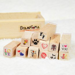 Wholesale Cartoon Diary - 12 pcs set DIY Cute Cartoon Fashion Wood STAMPTOPIA Stamps for Diary Scrapbooking Decoration wooden seal Free shipping