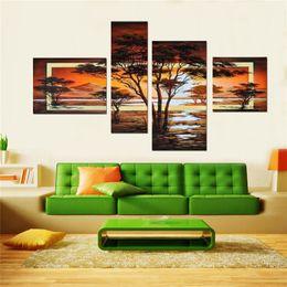 Wholesale 100 peint à la main set jaune paysage moderne peintures à l huile sur toile mur art africain images pour salon décor à la maison