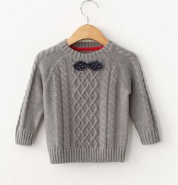 Wholesale Bow Ties For Little Boys - Sweaters For Boys And Girls Cute Little Bow Tie Round Collar Children Clothing Rhombus Plaid Long Sleeve Kids Pullover Fit 2-7Age K756