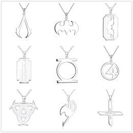 Wholesale Silver 925 Skull Chain - 15 Styles 925 Sterling Silver Plated Necklace Multi Geometry Charms Hollow Cross Tag Triangle Skull Fish Pendants Fit Chain Necklace Mixture