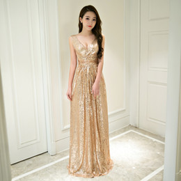 Wholesale Long Thin Prom Dresses - Evening Dresses 2017 New Elegant V-neck Lace Sequins Luxury Sexy Long High waist was thin Noble Banquet Party Prom Robe De Soiree X