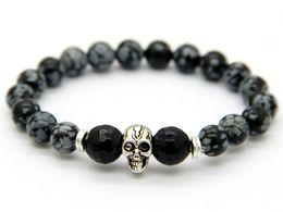 Wholesale Skull Bracelet Jewelry - Wholesale Men's Beaded 2015 New Design Yoga Jewelry 8mm Snowflake Stone Beads Antique Silver Skull Elastic Bracelets