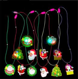 Wholesale Luminous Led Trees - Christmas LED Necklace Glowing Pendant Christmas Tree Decoration Santa Claus Snowman Luminous Children Kids Toys Xmas Gifts LED Necklet