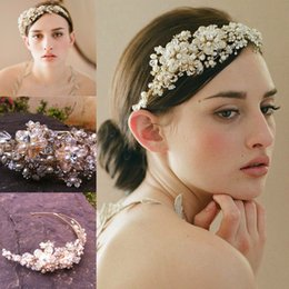 Wholesale Silk Flower Sequin Headband - 2015 Newest Luxury Bridal Tiaras Crowns Wedding Hair Accessories Pearls Sparkly Crystals Sequins Beaded HairPins Headpiece Jewelery CPA096