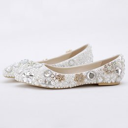 Wholesale Bride Wedding Flat Shoes - 2016 Beatiful Flat Heel White Pearl Wedding Shoes Comfortable Crystal Bridal Flats Customized Mother of Bride Shoes Plus Size
