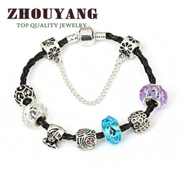 Wholesale Vintage Murano Glass Beads - European Style Tibetan Silver PU Leather Bracelets & Bangles With Murano Glass Beads Vintage DIY Fashion Jewelry ZY PH018