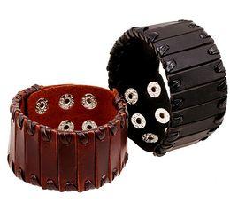 Wholesale Tribal Bracelets Men - Real Leather Braided Men Wrap Punk Bracelet Bangles Gifts Wristband Belt Handmade Vintage Bracelet Genuine Leather Bracelet Tribal Brcelets