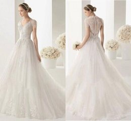 Wholesale Exotic Lace Wedding Dresses - Hot Sexy Woman Exotic A-Line Wedding Dresses See Through Lace Scoop Neck Short Sleeve Cap Shoulder Appliques Zipper Pinup Bride Gowns Custom