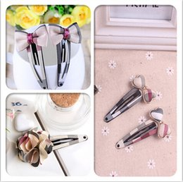 Wholesale Pink Jewelry Accessories - 10%OFF 2015 CHEAP SALE!children Plaid Rose BB hairclip,Pearl Bowknot hair jewelry wholesale,baby girl brand hair accessories,10pcs lot LY
