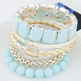 Wholesale Bangle Resin - Fashion Bijoux Gold Bracelets Bangles For Women Jewelry Multi layer Bangle Sets Rhinstone Bracelet Femme Summer Style Pulseiras