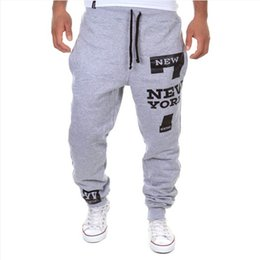 Wholesale Harem Pants Men Grey - Wholesale-Mens Joggers 2015 Personality Running Harem Pants Men Letter Print Hip Hop Sweatpants Sport Jogging Outdoor Plus Size XXXL
