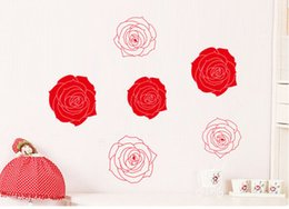 Wholesale Large Rose Wall Decal - 6Pcs Pink Red Rose Flowers Wall Art Mural Decor Creative Fashion Home Decoration Decal Poster Romantic Bedroom Wallpaper Decor