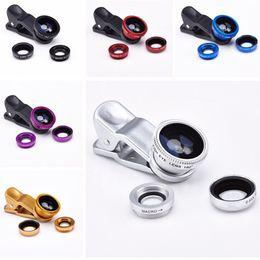 Wholesale Len Clip Eye - Universal Clip 3 in 1 Fish Eye Lens Wide Angle Macro Combo Camera Len For iPhone 5 6 plus Galaxy S6 Edge S5