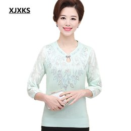 Wholesale Natural Wool Yarn - Wholesale- Women Sweater Knitted Net Sleeve Lace Net Yarn Spliced O-Neck Pullover Female Women's Clothing Sweater