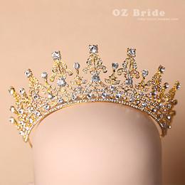 rosa fascinatoren für haare Rabatt Luxus Gold Strass Kristall Braut Tiaras Hochzeit Krone 2015 Stirnband Haarschmuck Festzug Party Hochzeit Tiara
