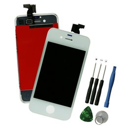 Wholesale Iphone 4s Lcd Screen Repair - Wholesale-For Apple Iphone 4S LCD Display + Screen Touch Digitizer w  Bezel Frame Assembly Kit + Free Tools for Replacement Repair White