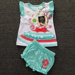 Wholesale Kids Minnie Mouse Outfit - Minnie Mouse Short Sleeve T Shirt Girl Dress Children Set Kids Suit Outfits 2015 Baby Summer Shorts Children Clothes Kids Clothing C5026