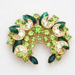 Billige grüne broschen online-Top Qualität Brida Brosche Grüne Kristalle Hochzeit Kostüm Luxus Brosche Günstigen Preis Großverkauf der Fabrik Pins Broschen Frauen Corsage Geschenk