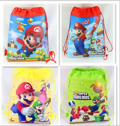 Wholesale Wholesale Super Mario Backpacks - 2016 new Super Mario drawstring bags Super Mario backpacks handbags children's school bags kids' shopping bags