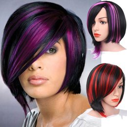 Wholesale Black Purple Short Wig - Cheap Black Mix Purple Red Short Straight Synthetic None Lace Hair Bob Wig With Fringe For Black Woman