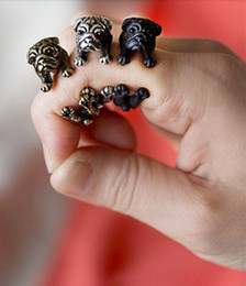Wholesale Antique Bulldog - 10pcs lot 2015 New Retro Animal Bulldog Ring in Antique Silver and Antique Bronze Adjustable Vintage Rings for Women JZ316