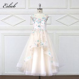 Wholesale Strapless Wedding Dresses Vests - Eslie 2018 Romantic Tulle Flower Girl Dress Sleeveless for Weddings Appliques Girl Party Communion Dress Pageant Gown HT7006