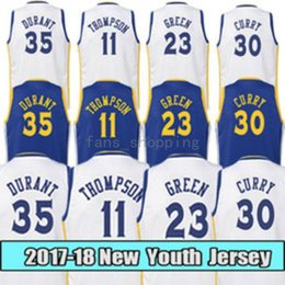 Wholesale Fishing Tables - 2017-2018 New Youth # 30 Stephen 35 Kevin Durant 23 Draymond Green 11 Klay Thompson Kids Stitched