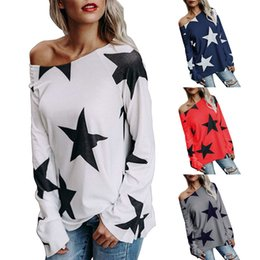 Wholesale Long Sleeved T Shirts Ladies - New Fashion Woman's New Street Style Long Sleeved Star T-shirt Lady Slash Neck Clothes