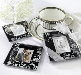 Wholesale Wholesale Baby Shower Frames - Wholesale Lots 20pcs Square Photo Frame Glass Coaster cup mats pads +gift box ribbon wedding favors baby shower wedding gift