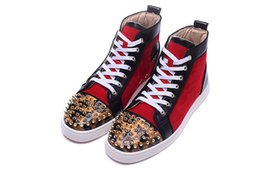 Wholesale Mens Leopard Shoes - Luxury Brand Red Bottom Sneakers Gold Suede with Spikes Casual Mens Womens Shoes Red Cashmere Leopard Mirror Nail High Cut Trainers Shoes