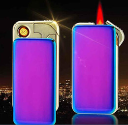 Wholesale Dual Flame - Electric dual-purpose lighter, windproof creative personality, male and female USB charging, electronic cigarette