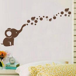 Wholesale Graphic Design Cartoons - Cute Elephant Bubbles DIY Vinyl Wall Art Sticker waterproof Nursery Wall Decal for Baby Room Decor