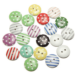 Wholesale Scrapbooking Dots - Wholesale 100 pcs Circular Dot Stripe Mix Wooden Buttons Craft Scrapbooking Sewing Button Accessories Cardmaking