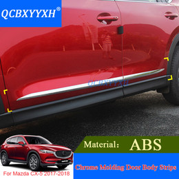 Wholesale Mazda Door Chrome - 4pcs ABS Car Styling Chrome Molding Door Body Strips For Mazda CX-5 2017 2018 Accessories Trim Covers External Decoration Strips