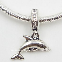 Wholesale Dolphin European Bead - New 100% 925 Sterling Silver Playful Dolphin Dangle Charm Bead with Clear Cz Fits European Jewelry Bracelets & Necklaces