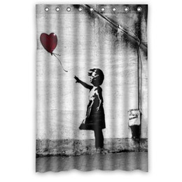 Wholesale New Curtains Designs - new design polyester balloon girl banksy shower curtain 48x72 home products waterproof printed shower curtain