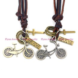 Wholesale Bicycle Party Decorations - 2015 Bicycle Accessories Metal Pendant Amulet Adjustable Leather Necklace Punk Cowboy Decorations Gift 10pcs lot