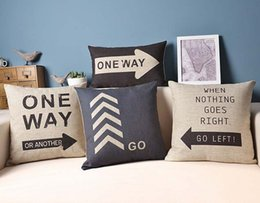 Wholesale Wedding Lights For Car - Road Sign Sofa Cushion Covers One Way Pillow Covers Linen Cotton Pillow Cases Wedding Decoration for Home Car office Gift Free Shipping
