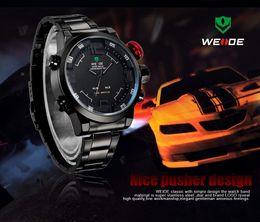 Wholesale Weide Wristwatches - WEIDE Men Sports Watches Full Steel Watch Male Fashion Quartz Clock LED Waterproof Military Wristwatch Relogio Masculino WH 2309