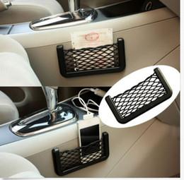 Reti di stoccaggio auto online-15 * 8 cm Car Storage Mesh Net resiliente String Phone Bag Holder Organizer Per Hyundai Kia Audi Ford universale portacellulare