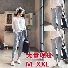Wholesale Korean Casual Stripe Pants Women - South Korea Naning9 new women's casual pants female trousers Haren Korean pop vertical stripe casual pants promotion