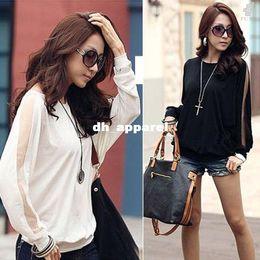 Wholesale Trendy Black Fashion Blouse - Dropshipping ! Fashion Women Trendy Long Sleeve Loose Casual T-Shirt Brand Batwing Tops Blouses Black 3580#12
