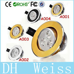 Wholesale Led Downlights Black - 9W Dimmable Led Downlights Black Golden Silver Ring High Power 3X3W 600lm CRI>85 Warm Natural Cool White Led Recessed Lamp 85-265V